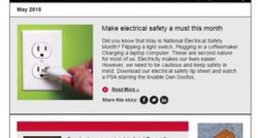May issue of Safety Source includes: Electrical Safety Month, burglar bars are examined, end of school year ideas & Más