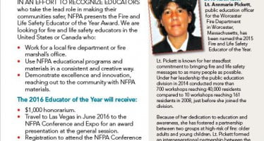 NFPA is on the lookout for a Fire and Life Safety Educator of the Year