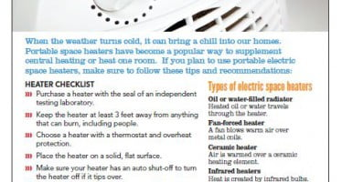 New tips sheet addresses electric portable space heater safety