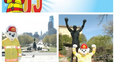 Sparky checks off bucket list items 14 y 15: Visit the Rocky steps and the Liberty Bell