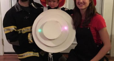 A little boy dressed up as a smoke alarm is an inspiration