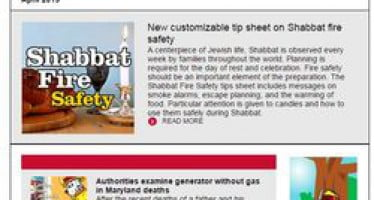 In April's issue of Safety Source: new Shabbat fire safety tip sheet, carbon monoxide educational resources & more